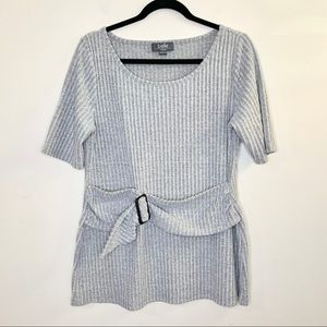 Belle by Belldini Ribbed Knit Sweater Blouse Gray
